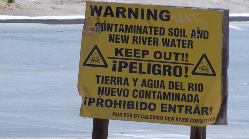 Sign posted to warn public of dangers of the New River